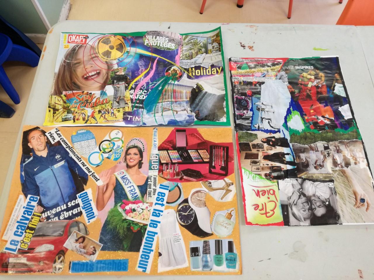 Les créations des enfants : nous voyons de multiples collages, parfois repeints, exprimant leurs pensées