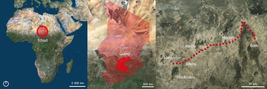 Le Tchad est situé au coeur de l'Afrique. Notre projet se concentrera sur la vallée du Guéra, d'Abtouyour à Baro.