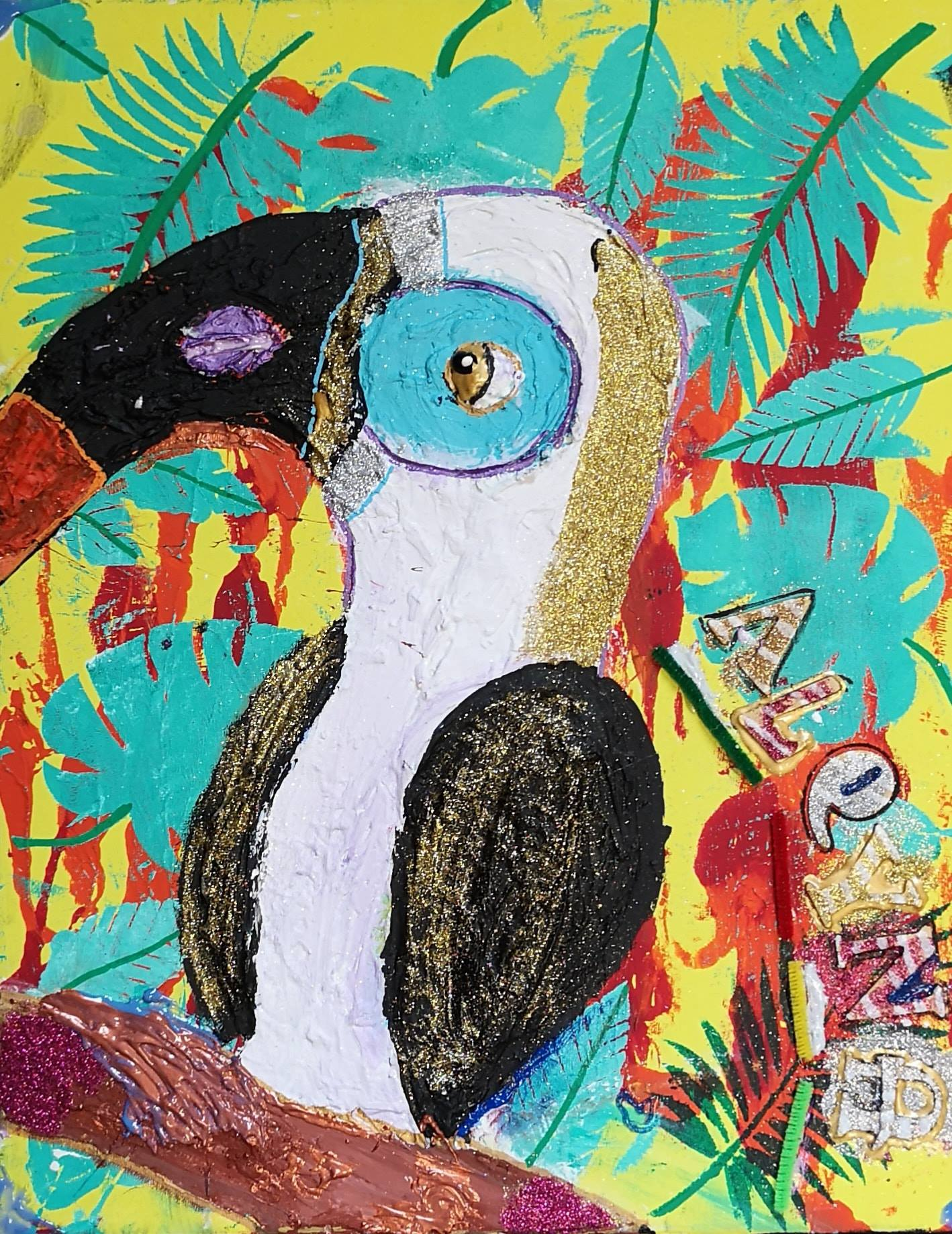 Un aperçu des créations, ici un pingouin coloré